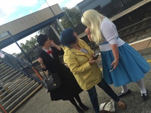 Mary, Coraline and Alice on the platform